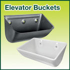 Steel and plastic elevator buckets for agricultural and industrial applications.