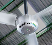 High volume, low speed industrial ceiling fans can seamlessly switch between solar power and grid power.